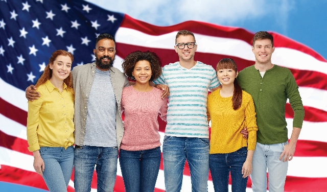 Students with American Flag in background